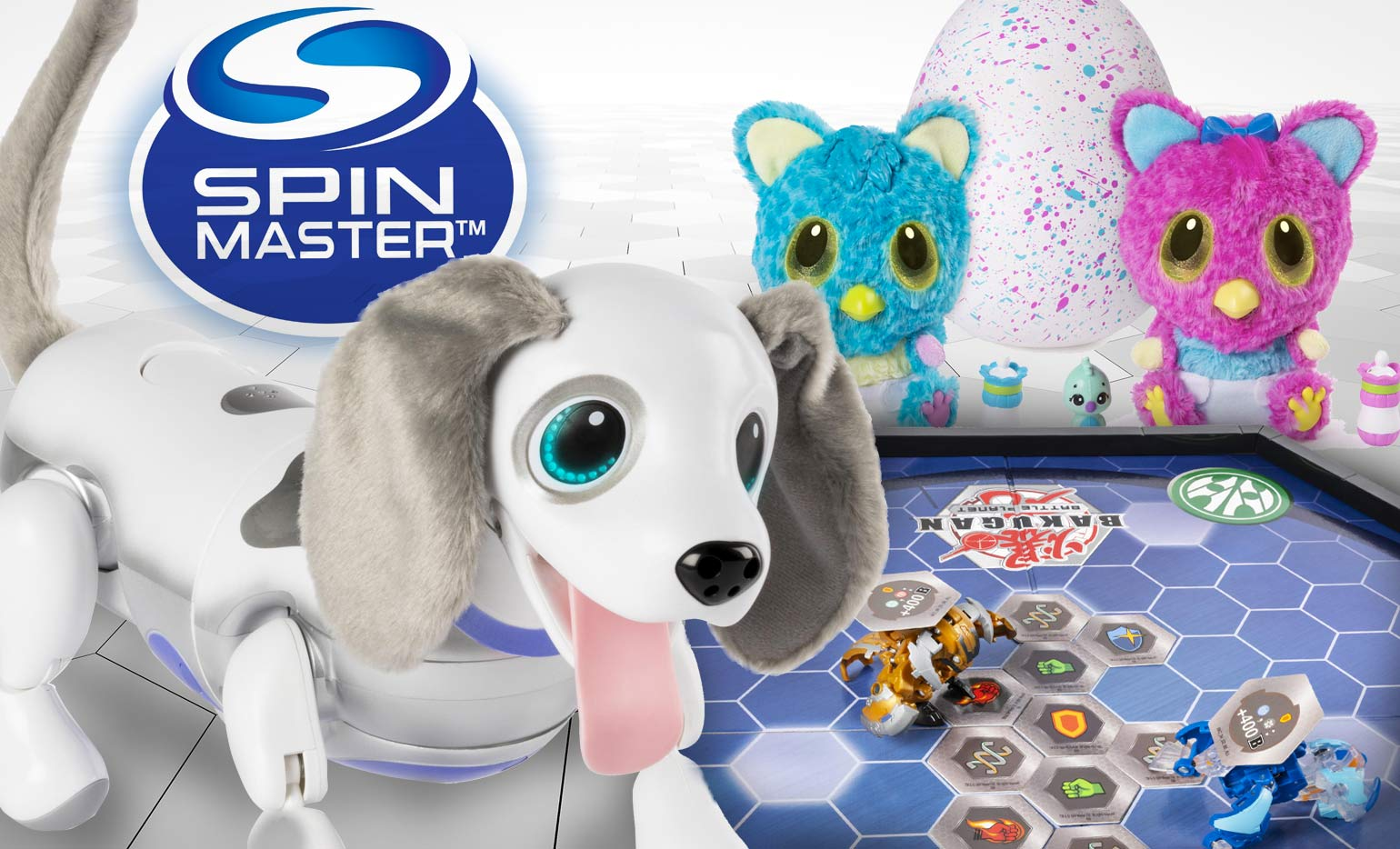 Spin Master Zoomer, Hatchimal and Bakugan toys