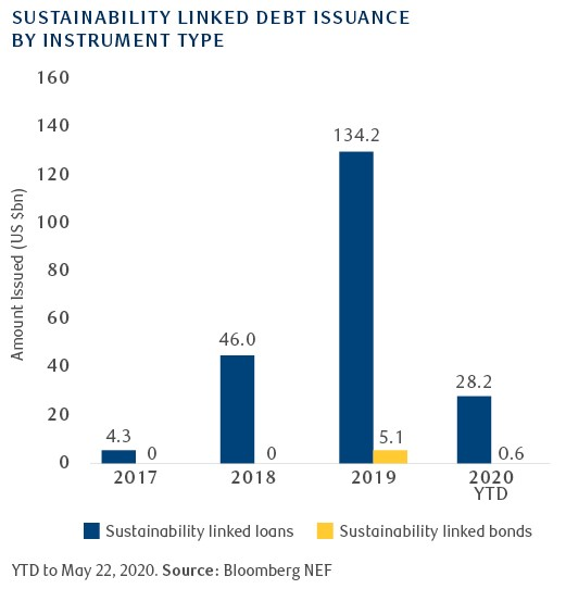 Sustainability linked debt issuance by instrument type graph