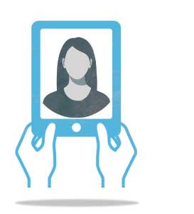 person holding a tablet with an image of a woman